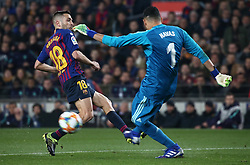 February 6, 2019 - Barcelona, Spain - Jordi Alba and Keylor Navas during the match between FC Barcelona and Real Madrid corresponding to the first leg of the 1/2 final of the spanish cup, played at the Camp Nou Stadium, on 06th February 2019, in Barcelona, Spain. (Credit Image: © Joan Valls/NurPhoto via ZUMA Press)