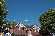 View of the Leander Club, pink flag fling over the club House, Henley on Thames. United Kingdom.   , Henley Reach.   <br /> <br /> Thursday  17/05/2018<br /> <br /> [Mandatory Credit: Peter SPURRIER:Intersport Images]<br /> <br /> LEICA CAMERA AG  LEICA Q (Typ 116)  f5  1/800sec  35mm  42.6MB