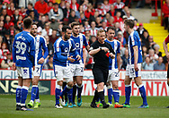 Referee John Busby send s off Dan Gardner of Chesterfield during the English League One match at  Bramall Lane Stadium, Sheffield. Picture date: April 30th 2017. Pic credit should read: Simon Bellis/Sportimage