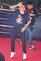 Atletico de Madrid Antoine Griezmann celebrating Europa League Championship at Neptune Fountain in Madrid, Spain. May 18, 2018. (ALTERPHOTOS/Borja B.Hojas)