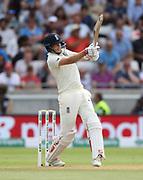 Joe Root bats during the first Test Match between England and India at Edgbaston, Birmingham. Photo: Graham Morris  / www.photosport.nz