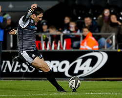 2nd November, Liberty Stadium , Swansea, Wales ; Guinness pro 14's Ospreys Rugby v Glasgow Warriors ;  Sam Davies of Ospreys converts<br /> <br /> Credit: Simon King/News Images<br /> <br /> Photographer Simon King/Replay Images<br /> <br /> Guinness PRO14 Round 8 - Ospreys v Glasgow Warriors - Friday 2nd November 2018 - Liberty Stadium - Swansea<br /> <br /> World Copyright © Replay Images . All rights reserved. info@replayimages.co.uk - http://replayimages.co.uk