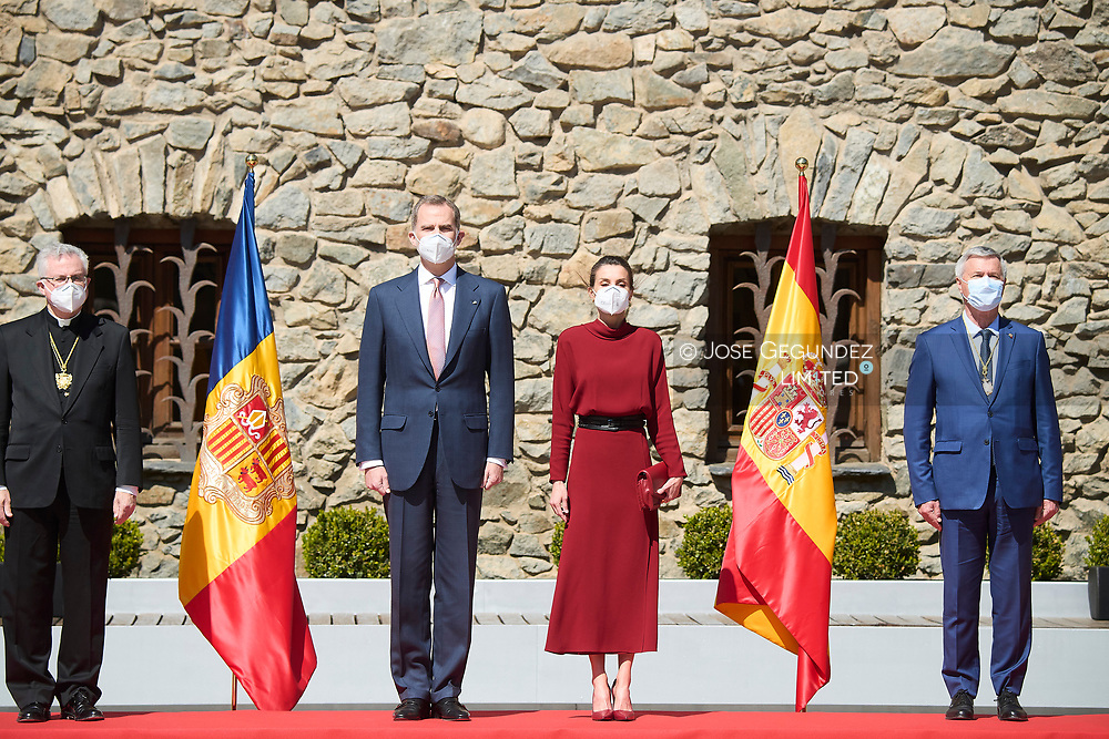 King Felipe VI of Spain, Queen Letizia of Spain attend official reception with national honours and national symbols during 2 day State visit to Principality of Andorra at Casa de la Vall on March 25, 2021 in Andorra la Vella, Principality of Andorra  <br /> The two day trip marks the first visit to Andorra since King Felipe's enthronement and is also the first foreign trip since the begin of the Coronavirus pandemic.