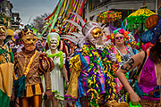 The Society of Saint Anne parade during Mardi Gras on 25th February 2020 in the French Quarter of New Orleans, Louisiana, United States. Mardi Gras is the biggest celebration the city of New Orleans hosts every year. The magnificent, costumed, beaded and feathered party is laced with tradition and  having a good time. Celebrations are concentrated for about two weeks before and culminate on Fat Tuesday the day before Ash Wednesday and Lent.