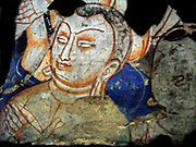 Detail of a scene preaching Buddhist. 1st Half Of The 7th century Fresco. Found in  the Kizil (site), Kucha Oasis, China