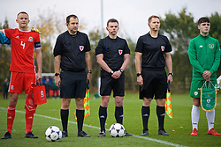 WREXHAM, WALES - Wednesday, October 30, 2019: Referee John Jones (C) and assistants Richard Dolphin and Luke Allsop before the 2019 Victory Shield match between Wales and Republic of Ireland at Colliers Park. (Pic by David Rawcliffe/Propaganda)