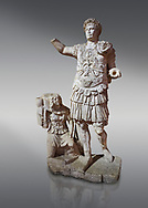 Roman statue of Emperor Trajan. Marble. Perge. 2nd century AD. Inv no11.13.79 . Antalya Archaeology Museum; Turkey. .<br /> <br /> If you prefer to buy from our ALAMY STOCK LIBRARY page at https://www.alamy.com/portfolio/paul-williams-funkystock/greco-roman-sculptures.html . Type -    Antalya     - into LOWER SEARCH WITHIN GALLERY box - Refine search by adding a subject, place, background colour, museum etc.<br /> <br /> Visit our ROMAN WORLD PHOTO COLLECTIONS for more photos to download or buy as wall art prints https://funkystock.photoshelter.com/gallery-collection/The-Romans-Art-Artefacts-Antiquities-Historic-Sites-Pictures-Images/C0000r2uLJJo9_s0