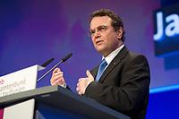 09 JAN 2012, KOELN/GERMANY:<br /> Hans-Peter Friedrich, CSU, Bundesinnenminister, haelt eine Rede, dbb Jahrestagung 2012, Messe Koeln<br /> IMAGE: 20120109-01-143<br /> KEYWORDS: Köln, Beamtenbund