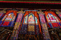 Prayer hall, Sera Monastery, near Lhasa, TIbet (Xizang), China.