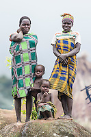 Young Mozambicans with their mothers   near their kraal, Gorongosa Mountain, Inhambane Province, Mozambique