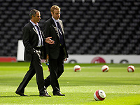 Photo: Daniel Hambury.<br />Fulham v Chelsea. The Barclays Premiership. 23/09/2006.<br />Fulham's manager Jose Mourinho (L) and press officer Simon Greenberg pictured before the match.