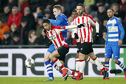 (L-R) Mauro Junior of PSV, Stef Nijland of PEC Zwolle, Bart Ramselaar of PSV, Younes Namli of PEC Zwolle during the Dutch Eredivisie match between PSV Eindhoven and PEC Zwolle at the Phillips stadium on February 03, 2018 in Eindhoven, The Netherlands