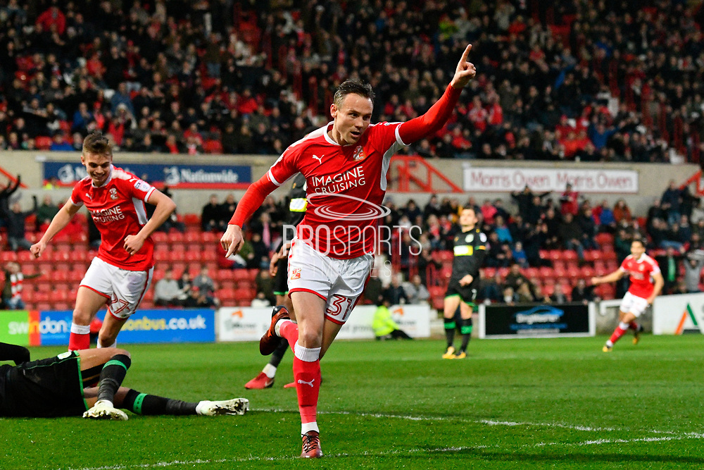 Goal - Matt Taylor (31) of Swindon Town celebrates scoring a goal to give a 1-0 lead to the home team during the EFL Sky Bet League 2 match between Swindon Town and Yeovil Town at the County Ground, Swindon, England on 10 April 2018. Picture by Graham Hunt.