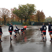 PARIS, FRANCE September 28.   Ball boys and ball girls warming up outside Court Philippe-Chatrier on a wet autumn day in preparation for day two of of the French Open Tennis Tournament at Roland Garros on September 28th 2020 in Paris, France. (Photo by Tim Clayton/Corbis via Getty Images