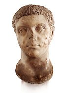 Roman sculpture of the Emperor Caracalla, excavated from Thuburbo-Majus, sculpted circa 211-217AD. The Bardo National Museum, Tunis, Inv No: C. 1347.  Against a white background. .<br /> <br /> If you prefer to buy from our ALAMY STOCK LIBRARY page at https://www.alamy.com/portfolio/paul-williams-funkystock/greco-roman-sculptures.html . Type -    BARDO    - into LOWER SEARCH WITHIN GALLERY box - Refine search by adding a subject, place, background colour, museum etc.<br /> <br /> Visit our CLASSICAL WORLD HISTORIC SITES PHOTO COLLECTIONS for more photos to download or buy as wall art prints https://funkystock.photoshelter.com/gallery-collection/The-Romans-Art-Artefacts-Antiquities-Historic-Sites-Pictures-Images/C0000r2uLJJo9_s0c