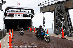 Jody Perewitz riding her 1936 Harley-Davidson off the Lake Michigan ferry during the SS Badger Cross Country Chase motorcycle endurance run from Sault Sainte Marie, MI to Key West, FL (for vintage bikes from 1930-1948). Stage 2 from Ludington, MI to Milwaukee, WI, USA. Saturday, September 7, 2019. Photography ©2019 Michael Lichter.