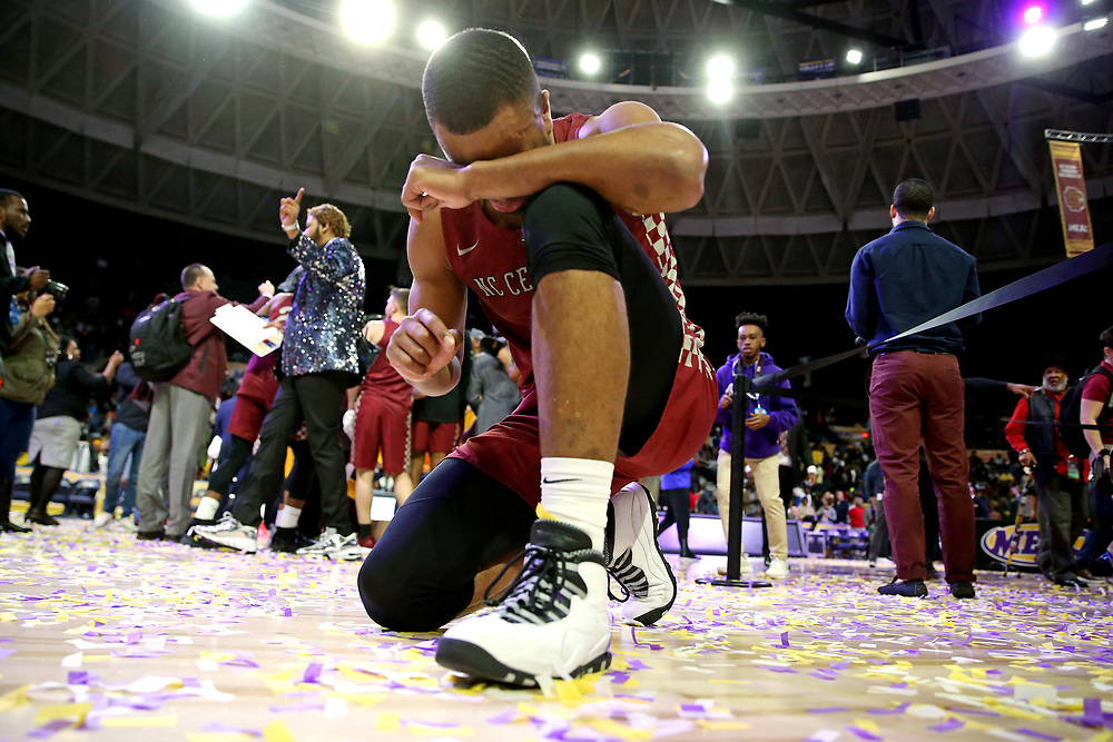 Mar 16, 2019; Norfolk, VA, USA; North Carolina Central Eagles forward Jibri Blount (2) celebrates after beating the Norfolk State Spartans in the MEAC Tournament Final at The Scope. Mandatory Credit: Peter Casey-USA TODAY Sports