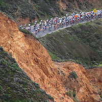 Stage 2 of the Amgen Tour of California brings riders through a cut in the hillside as cyclists near Montara, California.<br /> Photo by Shmuel Thaler <br /> shmuel_thaler@yahoo.com www.shmuelthaler.com
