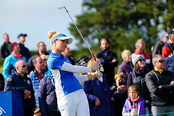 Auchterarder, Scotland, UK. 15 September 2019. Sunday Singles matches on final day  at 2019 Solheim Cup on Centenary Course at Gleneagles. Pictured; Charley Hull Team Europe reacts to tee shot on 10th hole.  Iain Masterton/Alamy Live News
