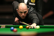 Joe Perry (Eng) in action. Stuart Bingham (Eng) v Joe Perry (Eng), 1st round match at the Dafabet Masters Snooker 2017, day 2 at Alexandra Palace in London on Monday 16th January 2017.<br /> pic by John Patrick Fletcher, Andrew Orchard sports photography.
