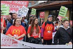 September 4, 2017 - London, London, United Kingdom - Image ©Licensed to i-Images Picture Agency. 04/09/2017. London, United Kingdom. McDonald's Staff on  strike..McDonald's workers at the south-east London Crayford branch are on strike for the first time in the restaurant chains history. The strikers, who have the backing of The Bakers, Food and Allied Workers Union (BFAWU),  are calling for £10 an hour minimum wage, union recognition and for the scrapping of zero hours contracts to be implemented..McDonald's workers at the Cambridge restaurant are also on strike over the same issues. Picture by Howard Jones / i-Images (Credit Image: © Howard Jones/i-Images via ZUMA Press)