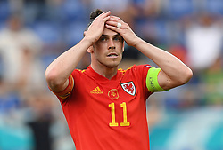ROME, ITALY - JUNE 20: Gareth Bale of Wales reacts during the UEFA Euro 2020 Championship Group A match between Italy and Wales at Olimpico Stadium on June 20, 2021 in Rome, Italy. (Photo by Chris Ricco - UEFA)