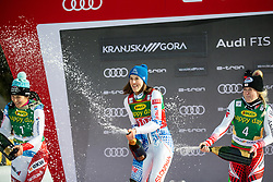 Petra Vlhova (SVK), Katharina Truppe (AUT) celebrating after the Ladies' Slalom at 56th Golden Fox event at Audi FIS Ski World Cup 2019/20, on February 16, 2020 in Podkoren, Kranjska Gora, Slovenia. Photo by Matic Ritonja / Sportida