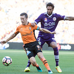 BRISBANE, AUSTRALIA - OCTOBER 30: Rhys Williams of the Glory competes with Matt McKay of the roar during the round 4 Hyundai A-League match between the Brisbane Roar and Perth Glory at Suncorp Stadium on October 30, 2016 in Brisbane, Australia. (Photo by Patrick Kearney/Brisbane Roar)