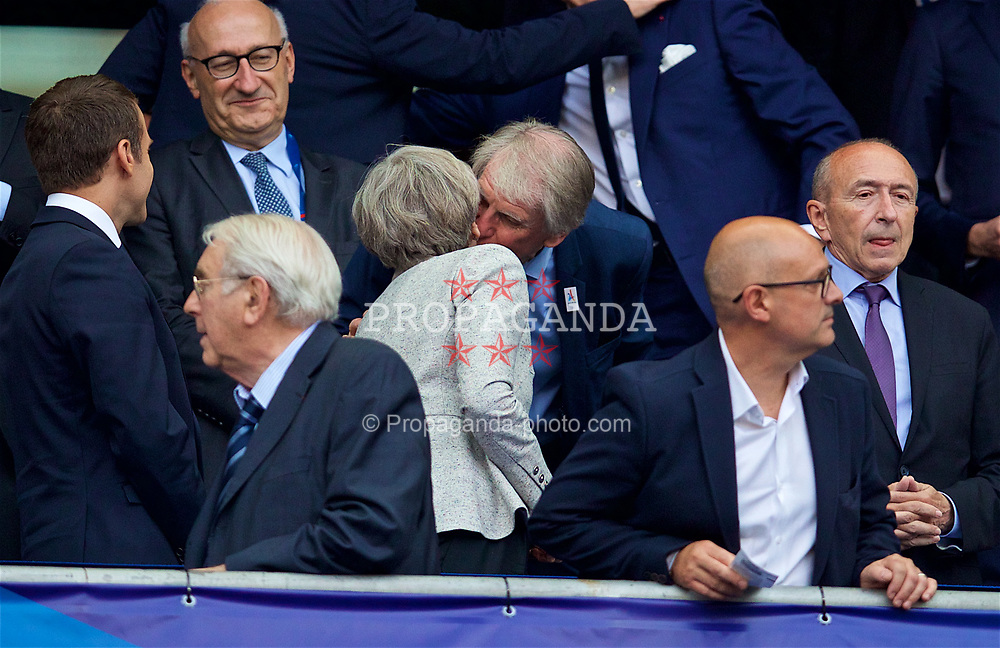 PARIS, FRANCE - Tuesday, June 13, 2017: Leader of the Conservative Party and minority British Prime Minister Theresa May receives a kiss before an international friendly match at the Stade de France. (Pic by David Rawcliffe/Propaganda)
