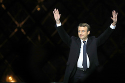 Emmanuel Macron delivers his speech after winning the French presidential election, at the Louvre Pyramid in Paris, France on May 7, 2017. Macron, a 39-year-old pro-business centrist, defeated Marine Le Pen, a far-right nationalist who called for France to exit the European Union, by a margin of 65.5 % to 34.1%, becoming the youngest president in France's history. Photo by ABACAPRESS.COM