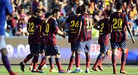 Fotball<br /> Friendly match at Ullevaal Stadion<br /> 26.07.2013<br /> Vålerenga v Barcelona<br /> Foto: Morten Olsen/Digitalsport<br /> <br /> Barcelona celebrating goal<br /> Jonathan Dos Santos (12) - Lionel Messi (10) - Alexandre Song (17)