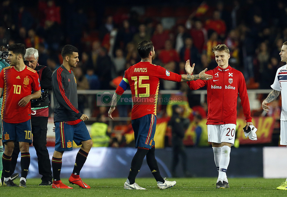 March 23, 2019 - Valencia, Community of Valencia, Spain - Spain's Sergio Ramos and Norway's Martin Odegaard seen in action during the Qualifiers - Group B to Euro 2020 football match between Spain and Norway in Valencia, Spain. Spain beat Norway, 2-1 (Credit Image: © Manu Reino/SOPA Images via ZUMA Wire)
