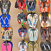 Flip-flops on display a shope in Zihuatanejo, Mexico
