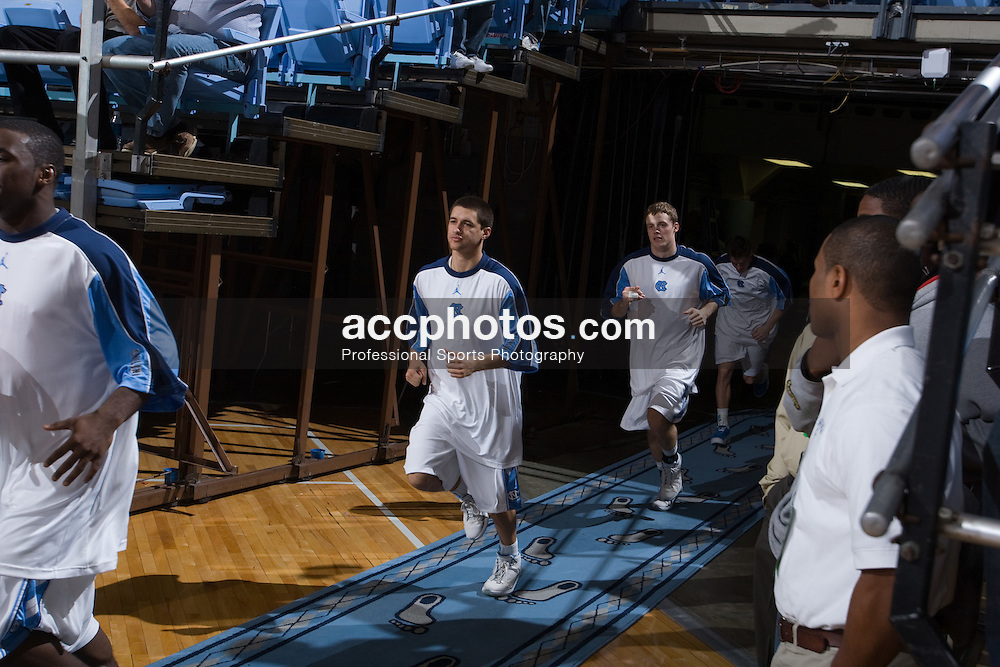 20 November 2007: North Carolina Tar Heels make their entrance before a 110-64 win over South Carolina State at the Dean Smith Center in Chapel Hill, NC.