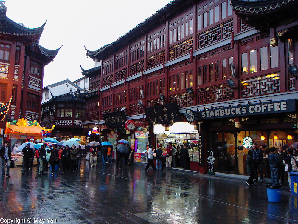Starbucks and Dairy Queen can be found at a popular spot for expats in Shanghai, China.