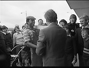 Taoiseach's Election Campaign.      (N77)..1981..23.05.1981..05.23.1981..23rd May 1981..On the 21st May the Taoiseach, Mr Charles Haughey, dissolved the Dáil and called a general election. Charles Haughey, Garret Fitzgerald and Frank Cluskey were leading their respective parties into a general election for the first time as they had only taken party leadership during the last Dáil..Fianna Fáil had hoped to call the election earlier, but the Stardust Tragedy caused the decision to be deferred...Image shows outgoing Taoiseach, Charles Haughey TD, greeting a baker at Ballyfermot Shopping centre.