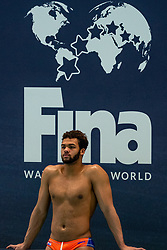 Bilal Gbadamassi of the Netherlands disappointed against Montenegro during the Olympic qualifying tournament. The Dutch water polo players are on the hunt for a starting ticket for the Olympic Games on February 19, 2021 in Rotterdam
