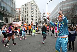 Alzheimer's Research UK foundation cheer on runners during the 2018 London Landmarks Half Marathon.