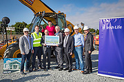 NO FEE PICTURES<br />13/7/18 Irish Life has formally broken ground on its new Customer Centre in Dundalk, Co Louth. The building has been designed by leading Dublin based architects, wejchert Architects and is being delivered by main contractor Stewart Construction. The new site area is 1.6 hectares with an office size of 45,000 sq ft. It is expected that over 200 construction workers will be on site during the construction phase of the project, which will be a significant boost to local employment in the Dundalk Area. Pictured are : Fergus Dowd, Irish Life, Paul Stewart, MD Stewart Construction, Aine Cassidy, Excutive Manager, Dundalk Office, David Harney, CEO Irish Life, Denis McLoughlin, Irish Life, Sean Rooney, developer, Greg and Se Weston, Excutive Manager, Dundalk Office. Picture :Arthur Carron