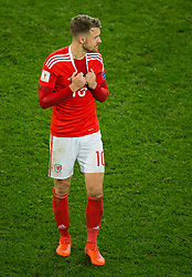 CARDIFF, WALES - Monday, October 9, 2017: Wales' Aaron Ramsey reacts at the final whistle during the 2018 FIFA World Cup Qualifying Group D match between Wales and Republic of Ireland at the Cardiff City Stadium. (Pic by Peter Powell/Propaganda)