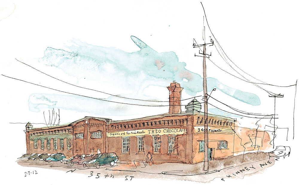 Sketch of the Theo Chocolate Factory Building in Fremont neighborhood of Seattle. <br /> <br /> Gabriel Campanario / The Seattle Times