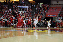 14 February 2016: Dwayne Lautier-Ogunleye saves a ball from the out of bounds and the grasp of Nick Banyard(0) and pushes it back outside during the Illinois State Redbirds v Bradley Braves at Redbird Arena in Normal Illinois (Photo by Alan Look)