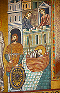 Medieval Byzantine style mosaics of St Paul preaching in then fleeing from Damascus, Palatine Chapel, Cappella Palatina, Palermo, Italy .<br /> <br /> If you prefer you can also buy from our ALAMY PHOTO LIBRARY  Collection visit : https://www.alamy.com/portfolio/paul-williams-funkystock/byzantine-art-antiquities.html . Type -    Palatine     - into the LOWER SEARCH WITHIN GALLERY box. Refine search by adding background colour, place, museum etc<br /> <br /> Visit our BYZANTINE MOSAIC PHOTO COLLECTION for more   photos  to download or buy as prints https://funkystock.photoshelter.com/gallery-collection/Roman-Byzantine-Art-Artefacts-Antiquities-Historic-Sites-Pictures-Images-of/C0000lW_87AclrOk