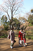Kimono Ladies at Rikugien Garden - a Tokyo metropolitan park in Bunkyo-ku. The name Rikugi comes from the idea of the six elements in waka poetry (en means garden or park. The park consists of a pond surrounded by a traditional Japanese garden.  Though a famous landmark for autumn leaf viewing there are a few cherry trees as well for springtime sakura.