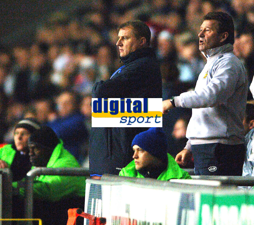 Photo: Paul Greenwood.<br />Wigan Athletic v Chelsea. The Barclays Premiership. 23/12/2006. Wigan manager Paul Jewell, left, and  assistant manager Chris Hutchings