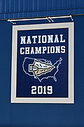 The 2019 National Championship football banner at Panish Family Stadium at St. John Bosco High School amid the global coronavirus COVID-19 pandemic, Saturday, June 27, 2020, in Bellflower, Calif. The  36-acre campus is the largest private school campus in California.