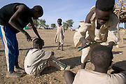 Young boys take turns to cut each other's hair in preparation for the festival of Eid al-Fitr, which marks the end of the month long fasting period of Ramadan at the Breidjing Refugee Camp in Eastern Chad. The refugee camp, which is near the Sudanese border, shelters 30,000 people who have fled their homes in Darfur, Sudan.