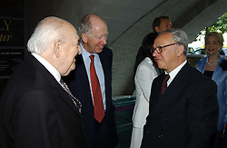 Left to right, LORD WEIDENFELD, LORD ROTHSCHILD and HUBERT BURDA at the opening of 'Princely Splendour; The Dresden Court 1580-1620' a new temporary exhibition at The Gilbert Collection, Somerset House, London sposored by Hubert Bruda Media, The Schroder Family and WestLB AG on 8th June 2005.<br />