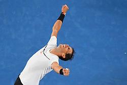 January 27, 2017 - Melbourne, Australia - Rafael Nadal celebrates win. Rafa will face his old foe R. Federer in the Melbourne final after beating G, Dimitrov 6-4, 5-7, 7-6, 6-7, 6-4 in the Semis of  Australian Open. (Credit Image: © Panoramic via ZUMA Press)