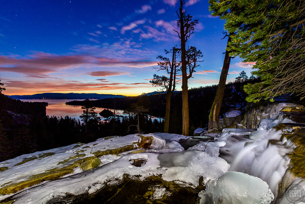 """Eagle Falls At Emerald Bay 8"" - Sunrise photograph at an icy Eagle Falls above Emerald Bay, Lake Tahoe."